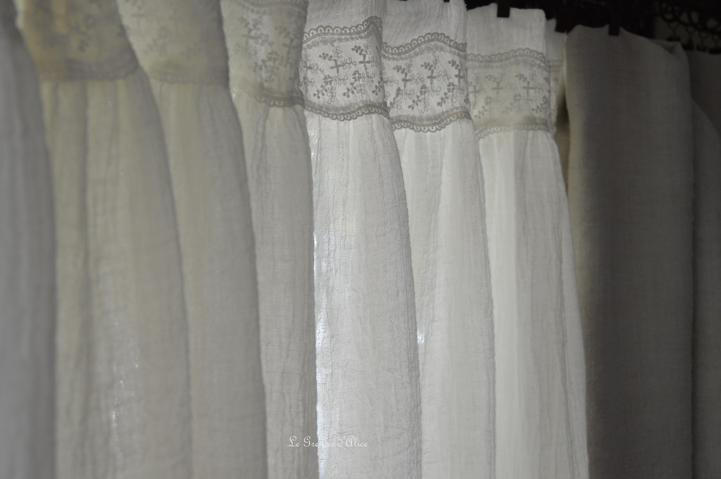 Nouveau tissu donc nouveaux articles le grenier d 39 alice - Rideau dentelle romantique ...