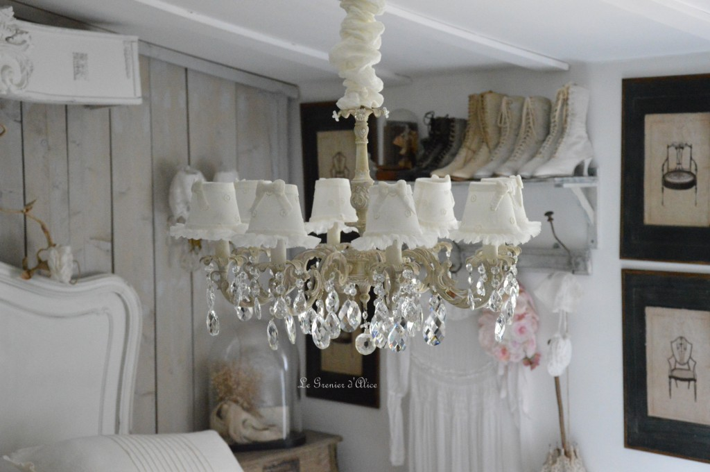 lustre ancien pampilles patin abat jour lin le grenier d 39 alice. Black Bedroom Furniture Sets. Home Design Ideas
